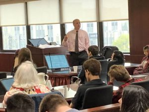 United States Magistrate Judge Andrew T. Baxter speaking to LaFayette High School and BOCES Mexico students