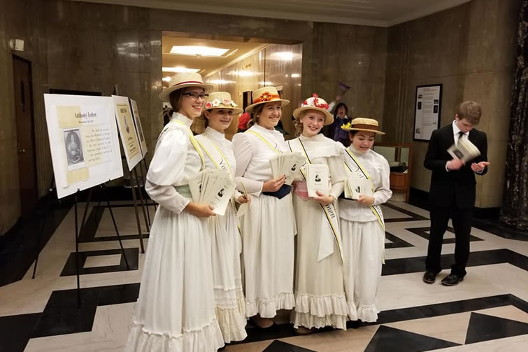 five women in period costume