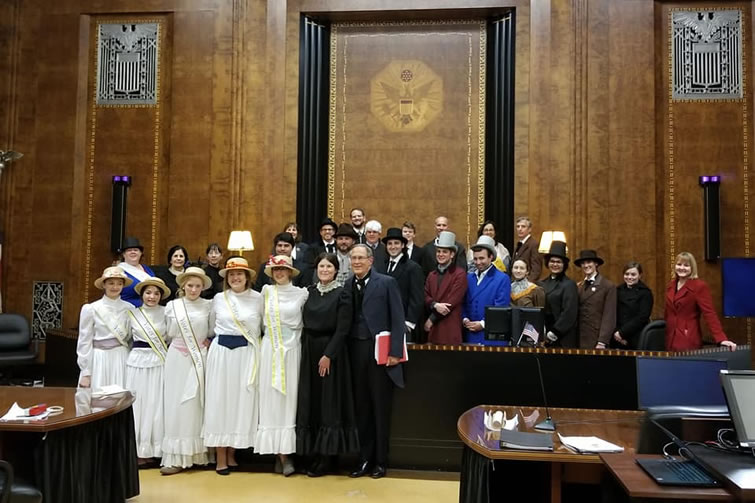 group photo in courthouse, people in period costume